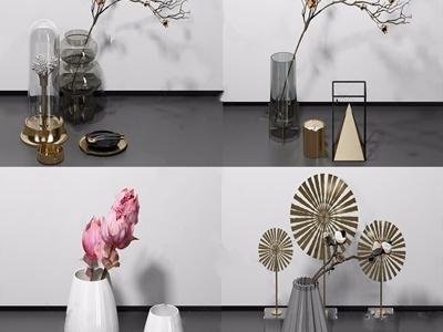 现代装饰品组合 现代摆件 花瓶 花艺 玻璃瓶 工艺品