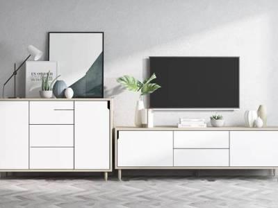 北欧实木电视柜边柜摆件组合3D模型
