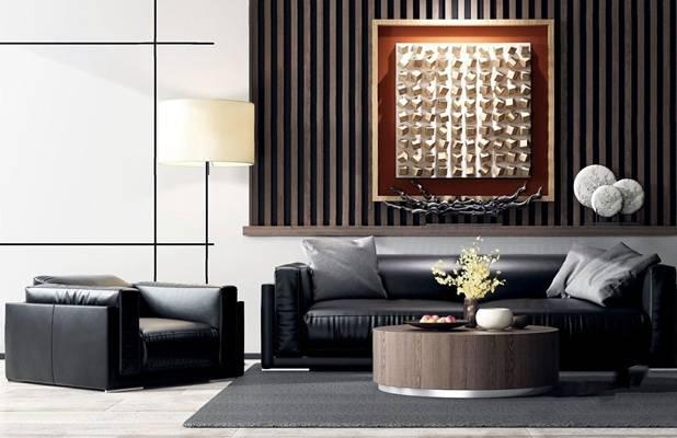 现代简约高级灰皮沙发茶几组合 现代多人沙发 单人沙发 圆茶几 落地灯 摆件 挂画 背景墙 地毯 摆件