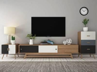 北欧实木电视柜显示器边柜斗柜台灯摆件3D模型