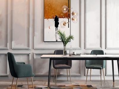 现代轻奢餐桌椅组合3D模型【ID:130522325】