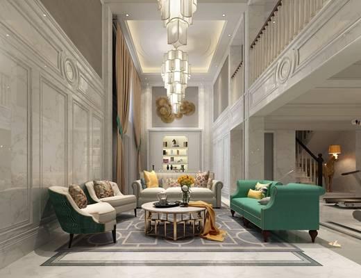 美式简约客厅书房组合 沙发茶几 单人沙发 吊灯 装饰墙 书桌椅 装饰柜