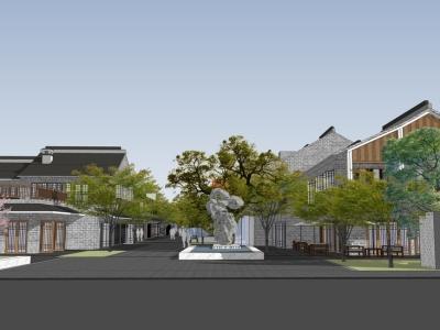 中式古建群落商业街SU模型