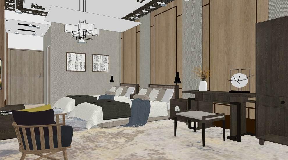 中式客房室内设计SU模型SU模型下载【ID:623786028】