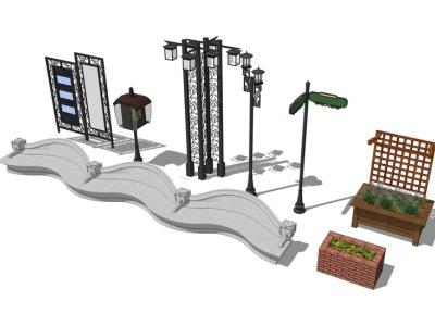 坐凳路灯花池组合SU模型SU模型下载【ID:321417529】