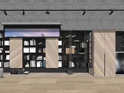 现代北欧工业风客厅电视背景墙柜子书柜组合投影幕原木色粗狂书店SU模型下载【ID:932701830】