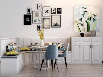 现代餐桌椅 挂画 墙画 小盆栽