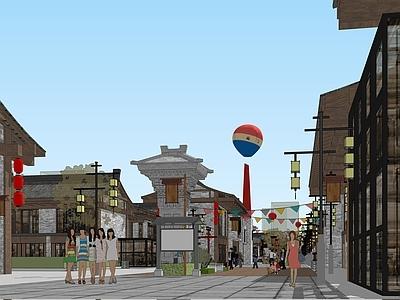 旅游文化主题商业街概念方案设计SU模型下载【ID:332249909】