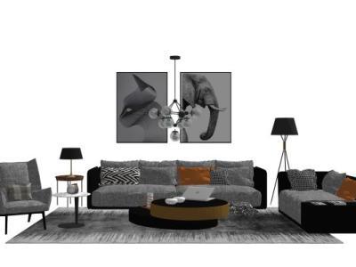 客厅现代组合沙发茶几沙发SU模型下载【ID:731669626】
