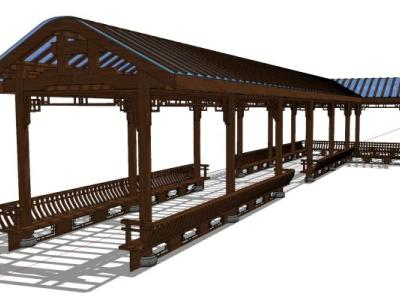 中式廊桥长廊走廊SU模型下载【ID:830453636】