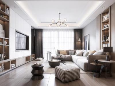 现代客厅 沙发 吊灯 台灯 窗帘 茶几 挂画 装饰品