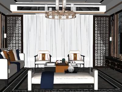 家装新中式风格客厅餐厅SU模型下载【ID:931325834】