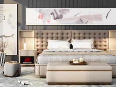 新中式现代轻奢卧室3d模型下载【ID:429948391】