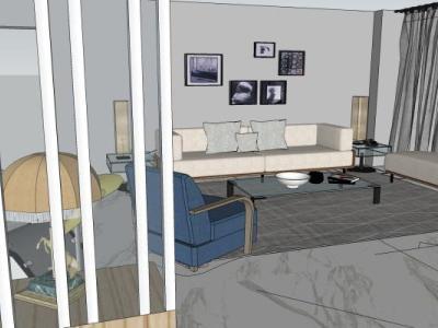 现代北欧宪哥方案250方大平层主人房卫生间儿童房客餐厅拐杖SU模型下载【ID:930017809】