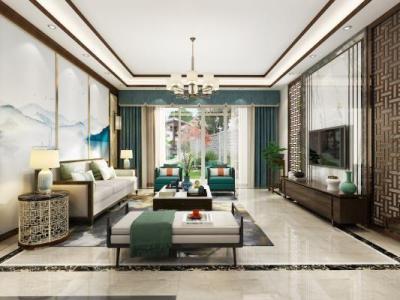 新中式客餐厅 新中式背景墙 家具