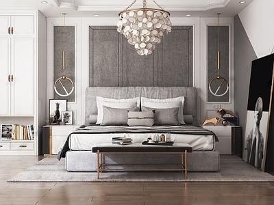 现代高级灰轻奢卧室3D模型【ID:433598343】