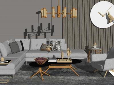 现代沙发茶几组合SU模型下载【ID:730735600】