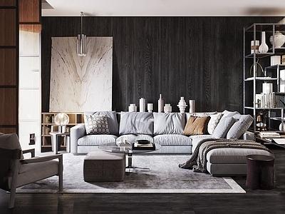 意大利米洛提Minotti现代沙发茶几装饰柜组合3d模型下载【ID:134021026】