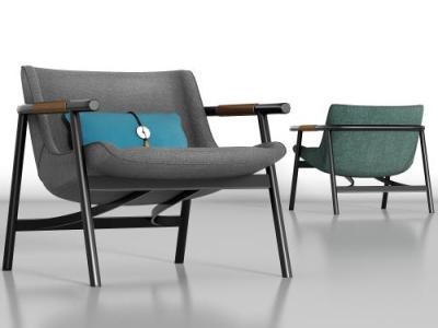 新中式金属绒布单椅组合