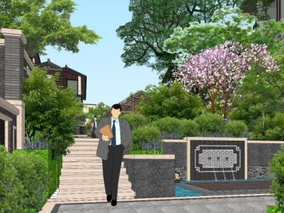 大理唐林恒宅间中式联排别墅景观小区景观中式景观SU模型下载【ID:529937498】