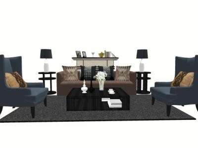 古典欧式沙发茶几组合SU模型下载【ID:431354157】