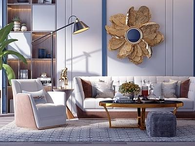 后现代轻奢沙发茶几组合3d模型下载【ID:132965043】