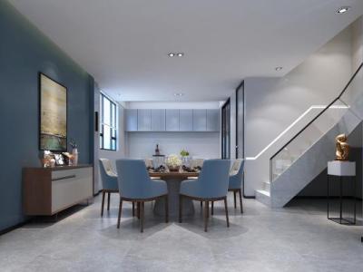 现代餐厅 餐边柜 装饰画 西厨 楼梯间 3D模型