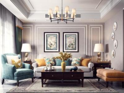 美式客厅餐厅 沙发组合 灯具 餐桌椅 挂画 茶几 装饰品 窗帘 边几 电视柜