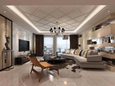 现代客厅 吊灯 单椅 电视柜 地毯 3D模型