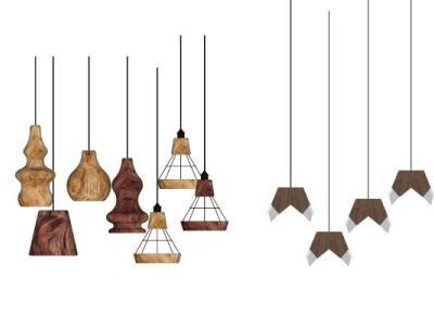 北欧原木艺术吊灯SU模型下载【ID:330393805】
