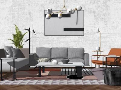 北欧现代简约沙发组合SU模型SU模型下载【ID:428813021】