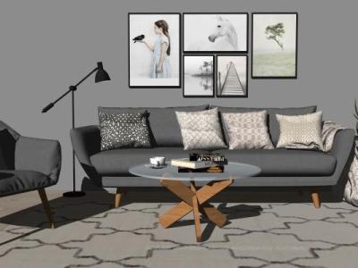 现代客厅沙发茶几组合SU模型下载【ID:728765601】