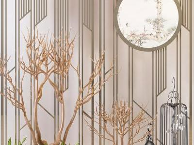 现代装饰墙 盆摘 植物