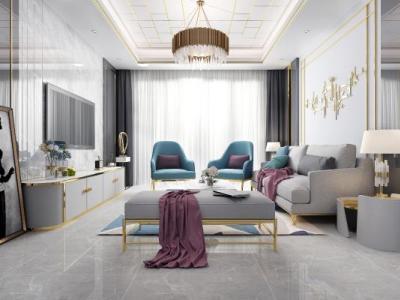 后现代轻奢客厅 吊顶 沙发茶几组合 电视柜 墙饰 画 单人椅
