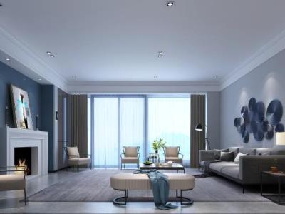 现代客厅 装饰画 壁炉 壁灯 墙饰
