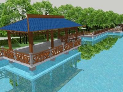 中式古建筑河边长廊休息亭SU模型下载【ID:829959605】