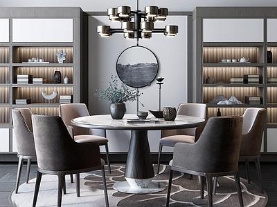 新中式餐桌椅3D模型【ID:132672803】