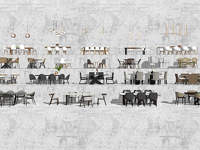 桌椅组合SU模型下载【ID:734288711】