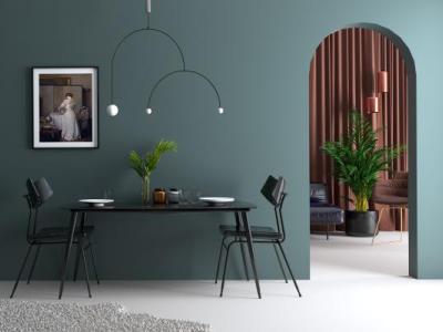 带效果图现代风格玫瑰金吊灯植物餐桌椅沙发椅子挂画组合