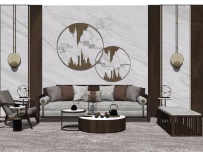 现代中式客厅组合家具SU模型下载【ID:730672695】