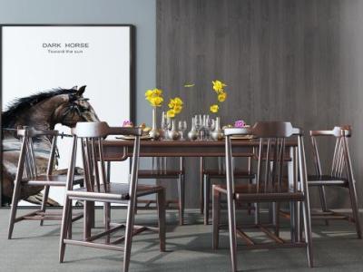 新中式餐桌椅组合 欧式餐厅装饰品 吊灯