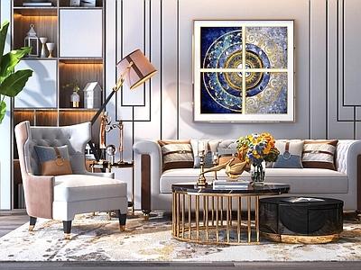 现代美式轻奢客厅沙发3D模型【ID:133106063】