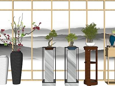 新中式花瓶花架盆景组合SU模型下载【ID:132518878】