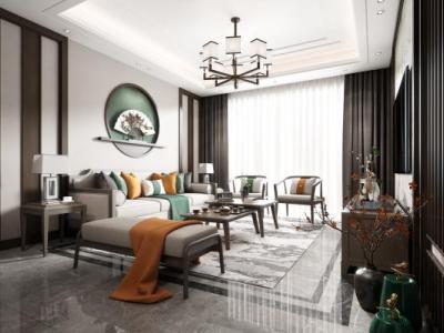 中式新中式客厅3d模型下载【ID:726383703】