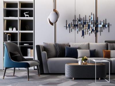 现代多人沙发休闲椅组合3d模型下载【ID:730310753】