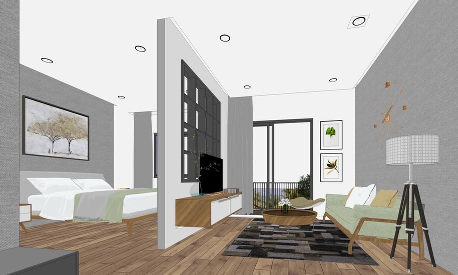 现代风格卧室客厅室内设计SU模型SU模型下载【ID:922238861】