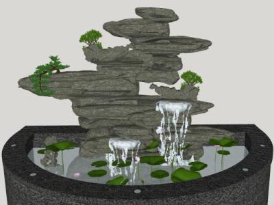 中式庭院假山喷泉SU模型下载【ID:731194425】