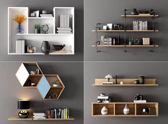 现代吊柜壁柜组合3d模型下载【ID:95737624】