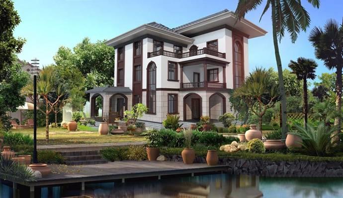 新中式别墅外观 新中式建筑      外景图片