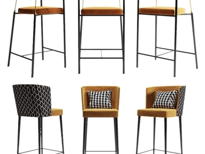 现代吧椅餐椅3D模型【ID:633129330】